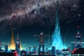 Картинка небо, звезды, город, огни, Eshi
