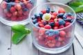 Картинка стакан, ягоды, земляника, жимолость
