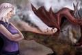 Картинка взгляд, дракон, арт, белые волосы, Daenerys Targaryen