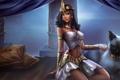 Картинка кошка, комната, кровать, подушки, колонны, египет, league of legends