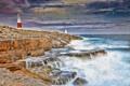 Картинка море, волны, берег, Великобритания, Portland Bill Lighthouse, Маяк Портланд-Билл, остров Портленд