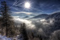 Картинка Clouds, Sun, Snow, Mountains, Forest, Trees, Sunrays