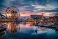 Картинка небо, облака, город, парк, колесо, аттракцион