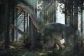 Картинка лес, лучи, свет, динозавры, nemegtosaurs