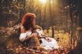 Картинка лес, осень, лиса, Marketa Novak, Katka Kona, девушка