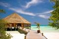 Картинка песок, море, дом