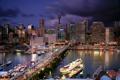 Картинка мост, city, улица, дома, вечер, Австралия, порт