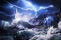 Картинка море, брызги, шторм, скалы, молния, станция, база