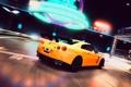 Картинка ночь, желтый, неон, поворот, вывески, Nissan, GT-R