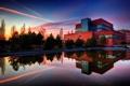 Картинка небо, вода, дом, здание, вечер, зеркало