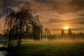 Картинка поле, закат, туман