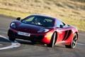 Картинка красный, McLaren, занос, Макларен, суперкар, дрифт, передок