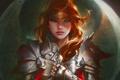 Картинка девушка, крылья, ангел, рыжая, art, доспех, Joan