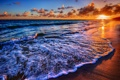 Картинка песок, облака, прибой, солнце, море
