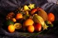 Картинка ткань, лайм, грейпфрут, груша, ананас, манго, фрукты