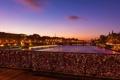 Картинка ночь, мост, огни, река, Франция, Париж