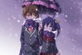 Картинка девушка, снег, зонт, аниме, шарф, арт, повязка