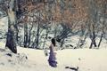 Картинка снег, девушка, осень