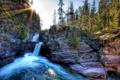 Картинка деревья, скалы, водопад