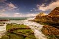 Картинка море, облака, камни, берег, мох, корабли, горизонт