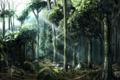 Картинка лес, деревья, цветы, арт