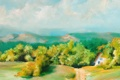 Картинка пейзаж, лето, дорога, холмы, зелень, домик