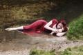 Картинка девушка, река, настроение, кукла