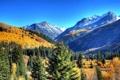 Картинка небо, деревья, горы, sky, mountains, горная долина
