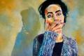 Картинка взгляд, девушка, арт, сигарета, голубые глаза, курит