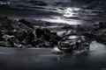 Картинка горы, луна, Италия, Lancia, Lancia Delta, монохром дорога