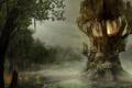 Картинка вода, огни, болото, хижины, мостик, Gothic, Arcania