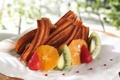 Картинка сладость, апельсин, киви, клубника, пирожное, фрукты