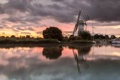 Картинка озеро, рассвет, лодки, утро, мельница
