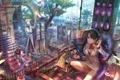 Картинка девушка, дерево, работа, аниме, косички