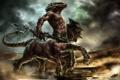 Картинка оружие, монстр, пыль, меч, арт, щит, раса