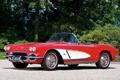 Картинка красный, фон, Corvette, Chevrolet, Шевроле, спорткар, классика