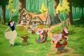 Картинка мультфильм, белоснежка и семь гномов, домик с гномами