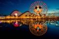 Картинка ночь, парк, колесо, аттракционы, горки, Disneyland