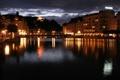 Картинка ночь, река, улица, швейцария