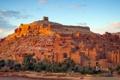 Картинка небо, дома, холм, Марокко, Атласские горы, ксар, Айт-Бен-Хадду