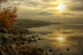 Картинка осень, деревья, туман, река, камни, рассвет, берег