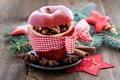 Картинка ветки, красное, яблоко, ель, Рождество, орехи, корица