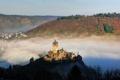 Картинка горы, туман, река, замок, Германия, вид сверху, Cochem