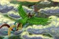 Картинка небо, облака, птица, долина, полёт, индейцы, детишки