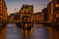 Картинка мост, дома, вечер, Германия, канал, Гамбург