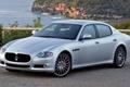 Картинка Maserati, Quattroporte, серебристый, Спорт, Мазерати, седан, передок