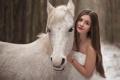 Картинка фон, девушка, конь