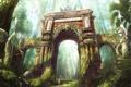 Картинка статуя, заросли, арки, арт, заброшенность, путник