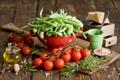 Картинка зелень, масло, сыр, горох, посуда, овощи, помидоры