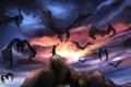 Картинка небо, полет, скала, человек, крылья, арт, существа